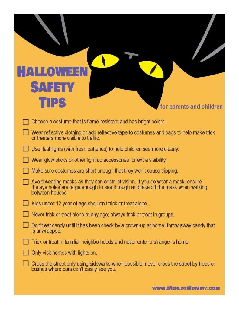 Halloween Safety Tips Checklist