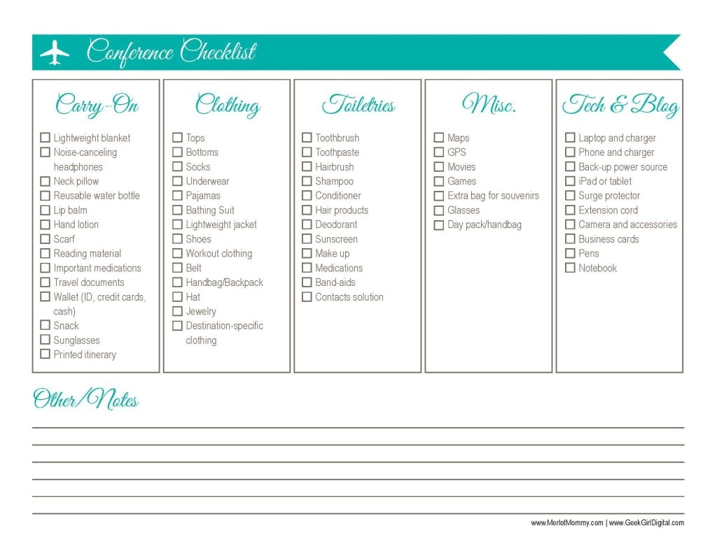 30 Days Of Free Printables: Travel Checklist