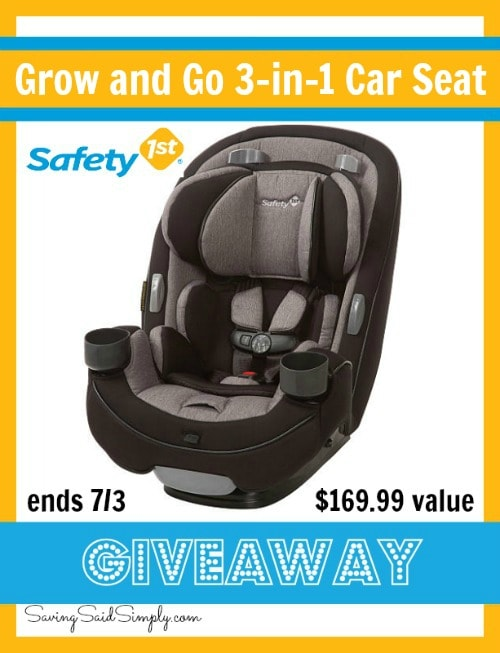 Enter to win a Safety 1st Grab and Go 3-in-1 car seat #Giveaway ends 7/3