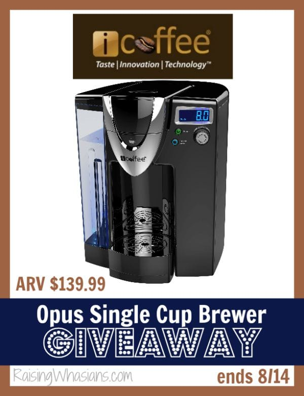 iCoffee Opus Single Cup Brewer #Giveaway ends 8/14