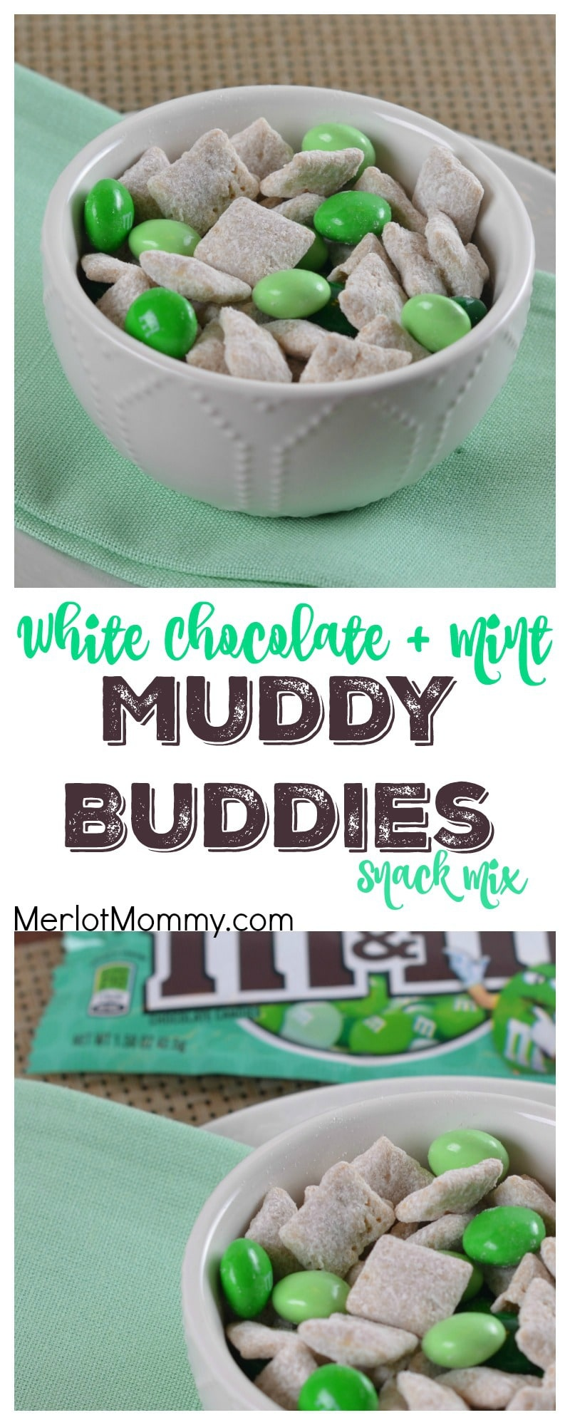 White Chocolate + Mint Muddy Buddies Snack Mix | Whisky ...