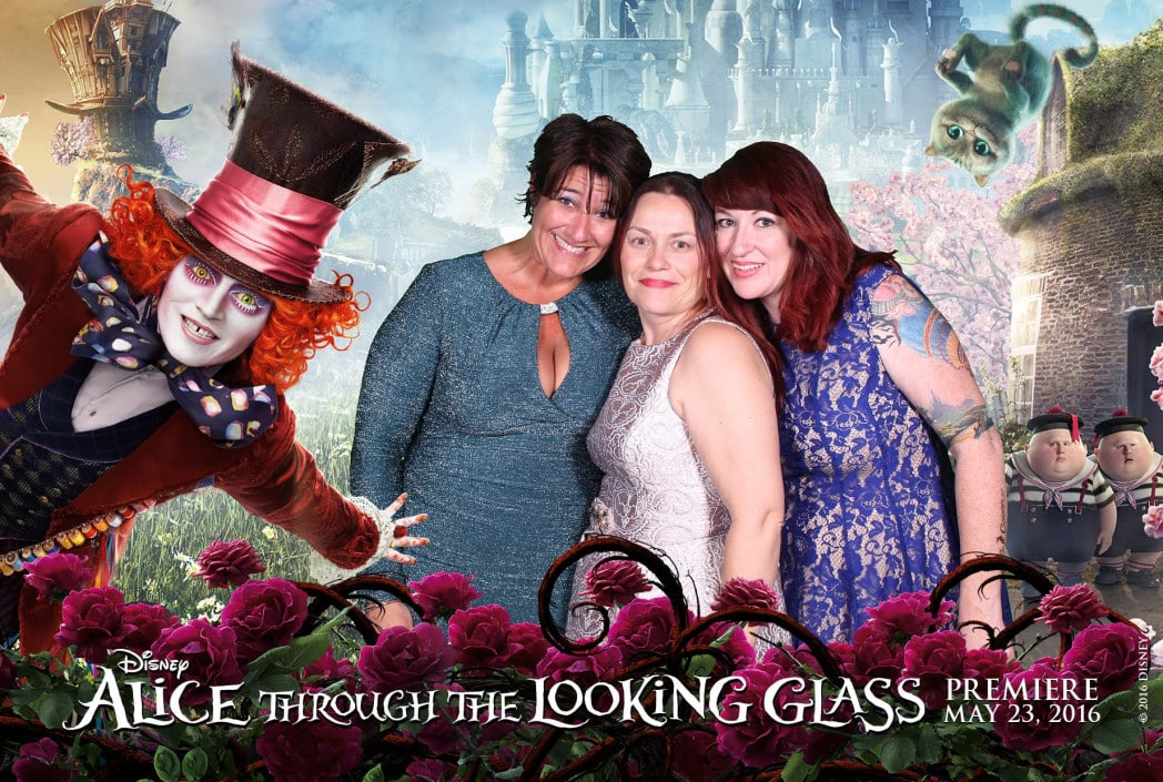 Behind-the-Scenes at the Alice Through the Looking Glass Red Carpet Premiere Event, Photo booth fun at the Alice Through the Looking Glass Red Carpet Premiere Event with Tara from TrippinwithTara.com and Carol from AllMommyWants.com and Jana Seitzer from Merlot Mommy.com