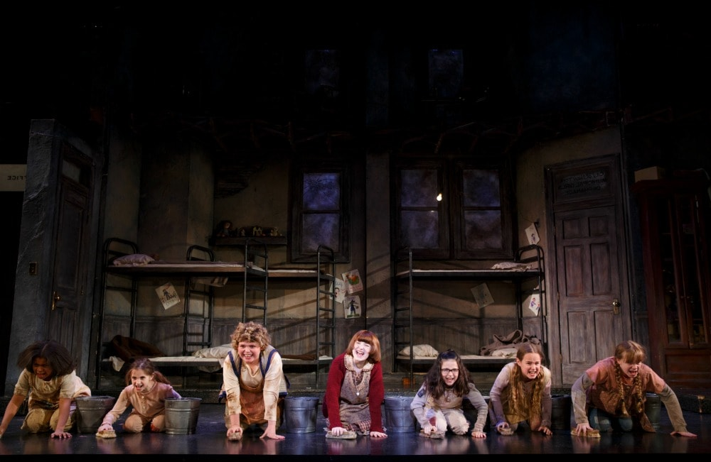 "Casey Watkins, Annabelle Wachtel, Sage Bentley, Heidi Gray, Bridget Carly Marsh, Emily Moreland and Molly Rose Meredith in ""It's the Hard Knock Life."" Photo credit: ©JOAN MARCUS."