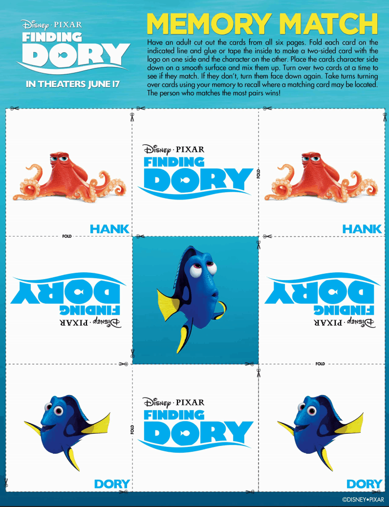 Finding Dory Memory Game + Activity Sheets