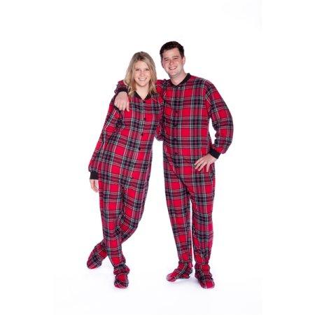 Red & Black Plaid Cotton Flannel Adult Footie Pajamas