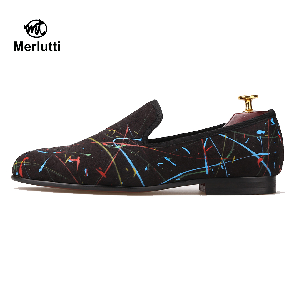 Black Stretch Fabric Graffiti Pattern Loafers