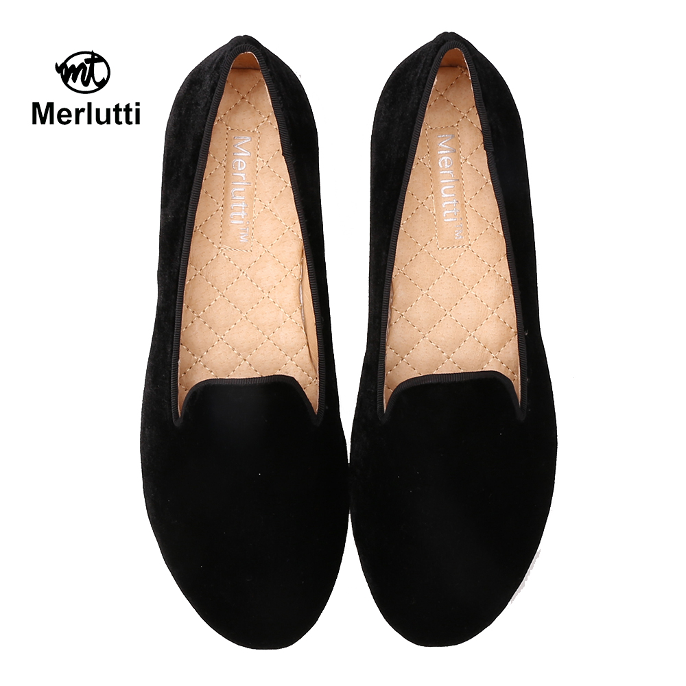 Women Plain Black Velvet Loafers