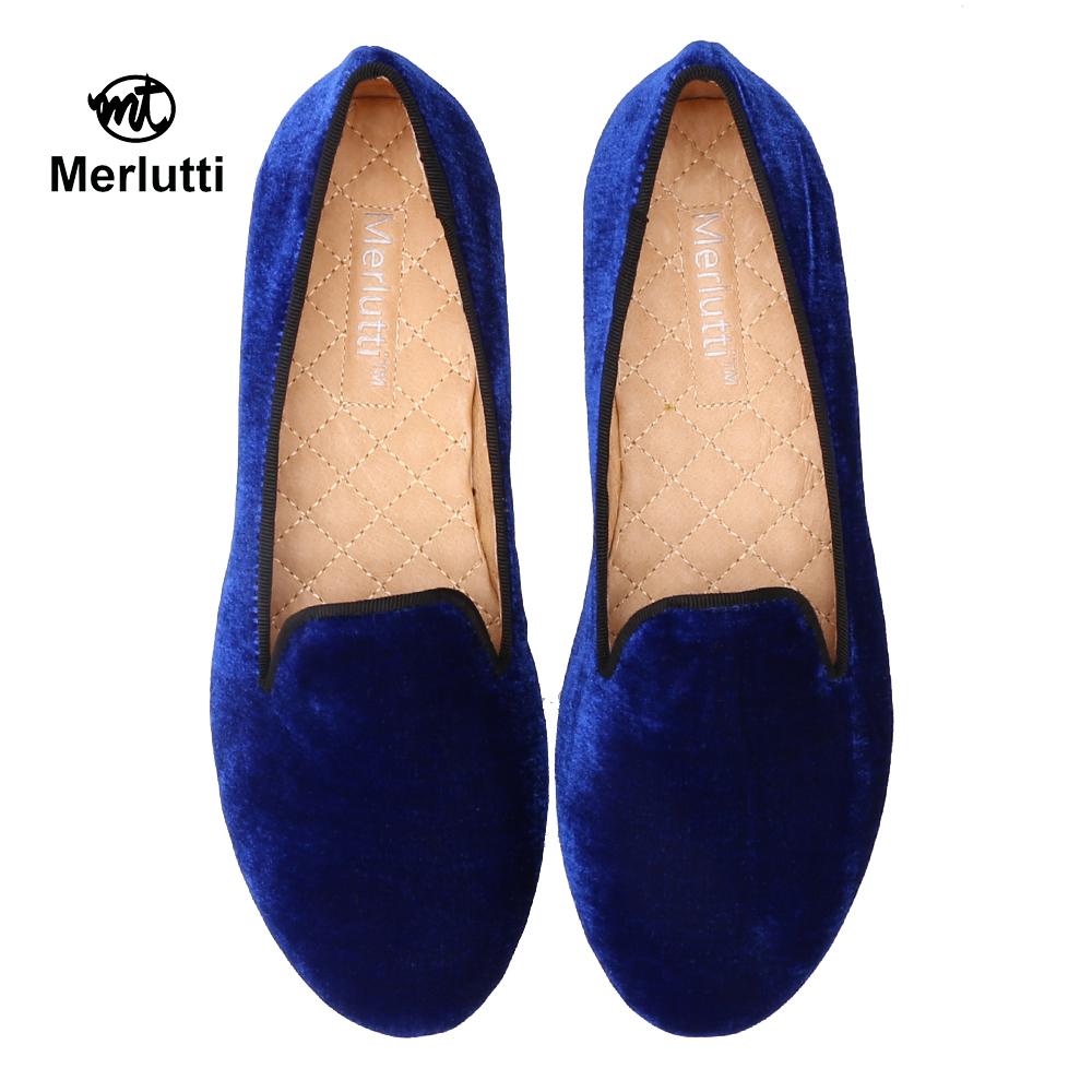 Women Plain Royal Blue Velvet Loafers