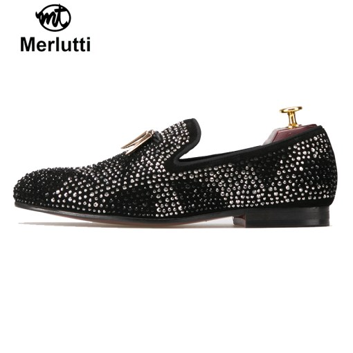 black suede with gold tassel and studs