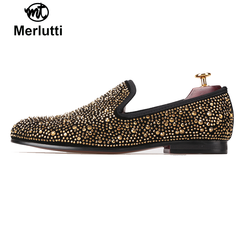 Gold Crystals Black Suede Flat