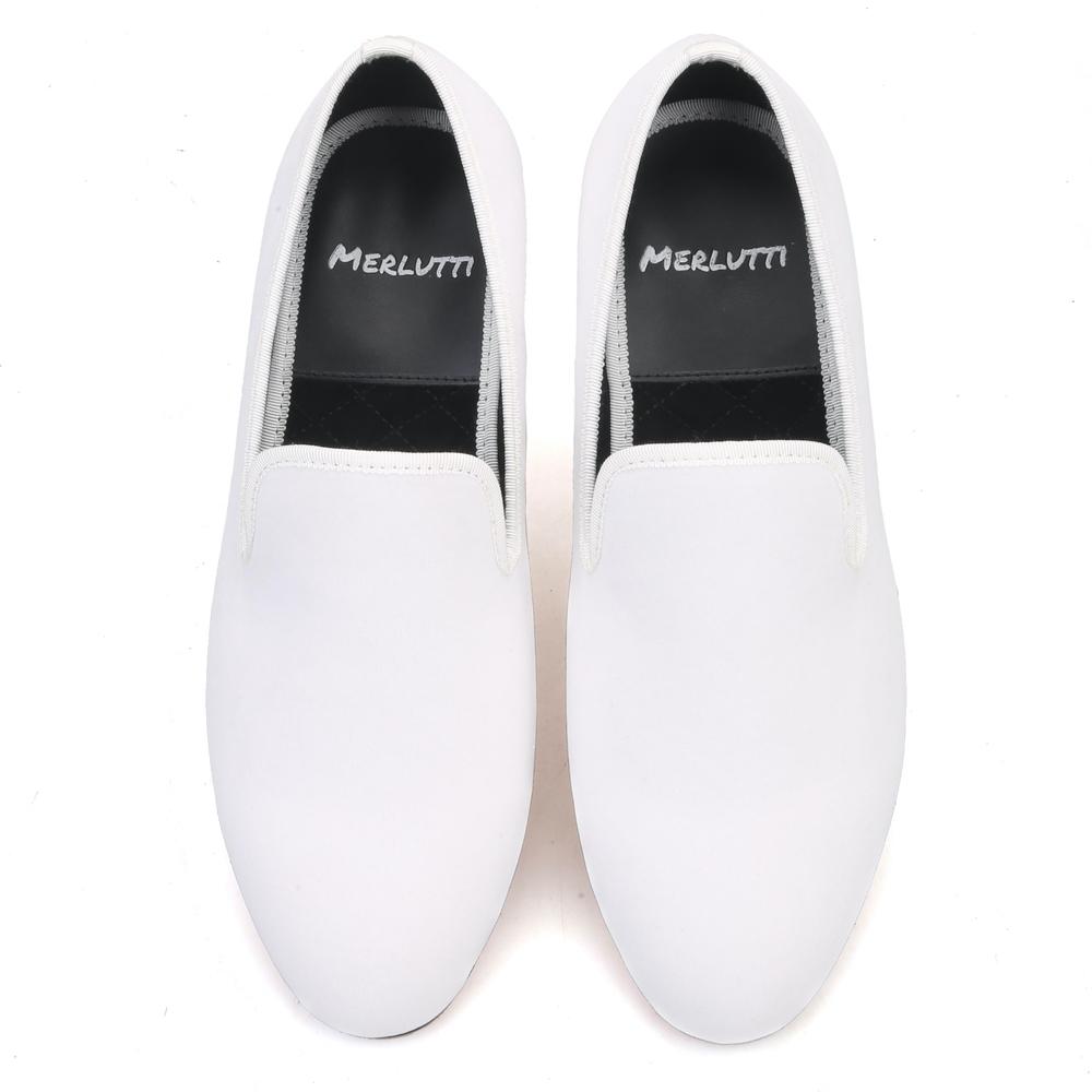 Plain White Velvet Loafer - Merlutti