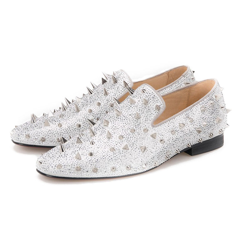 SPARKLY SILVER RIVET LEATHER LOAFERS