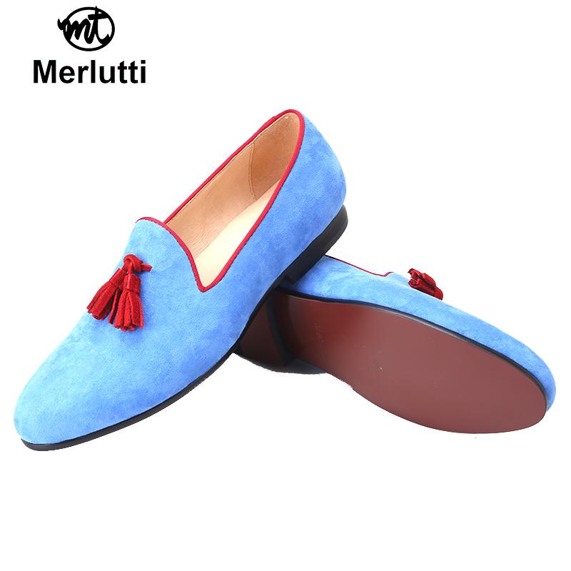 Blue Velvet Red Tassel Flat
