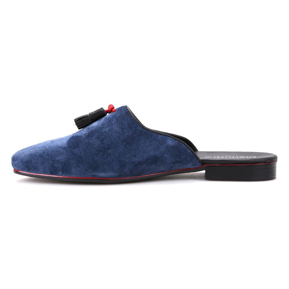 Blue Noah Tassel Suede Sandals