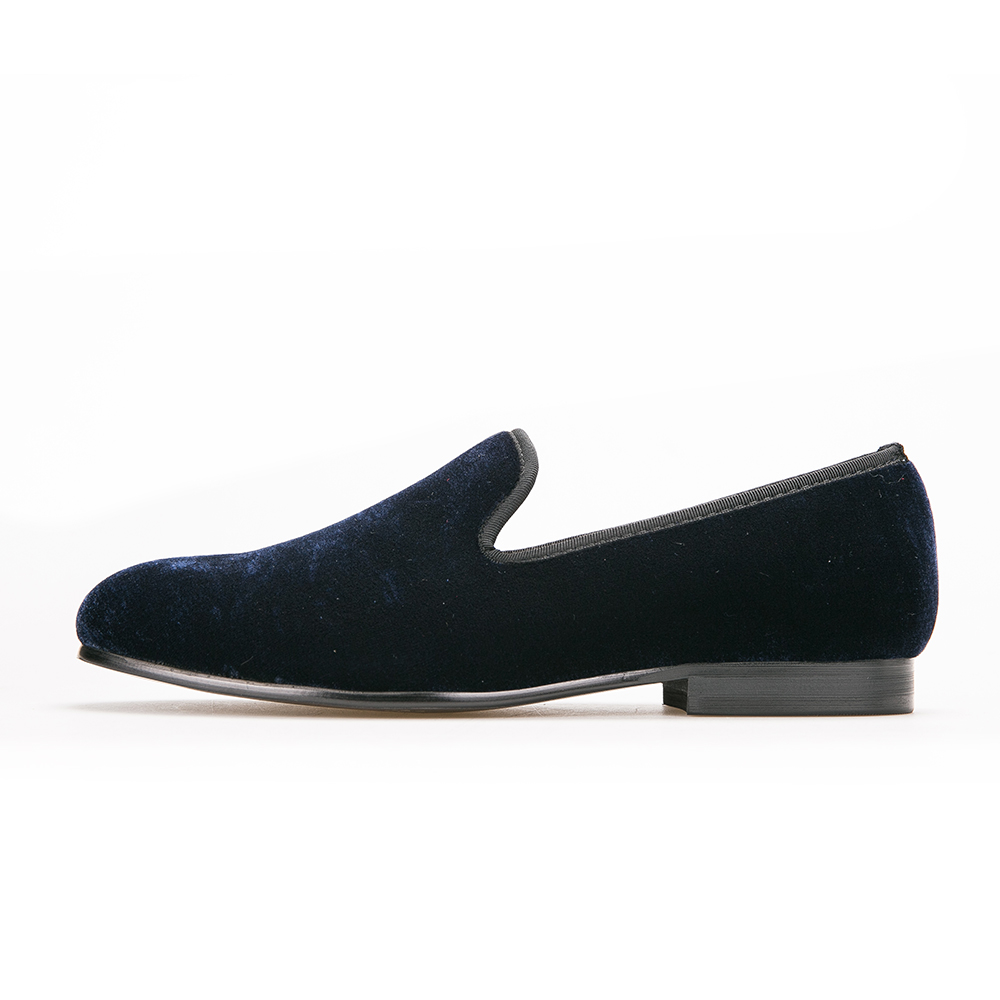 Plain Navy Blue Velvet Loafers
