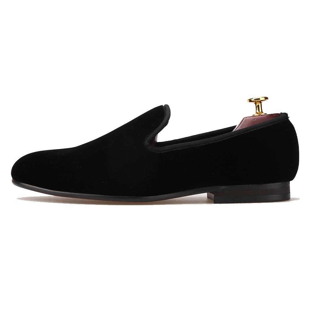 Plain Black Velvet Loafers by Merlutti