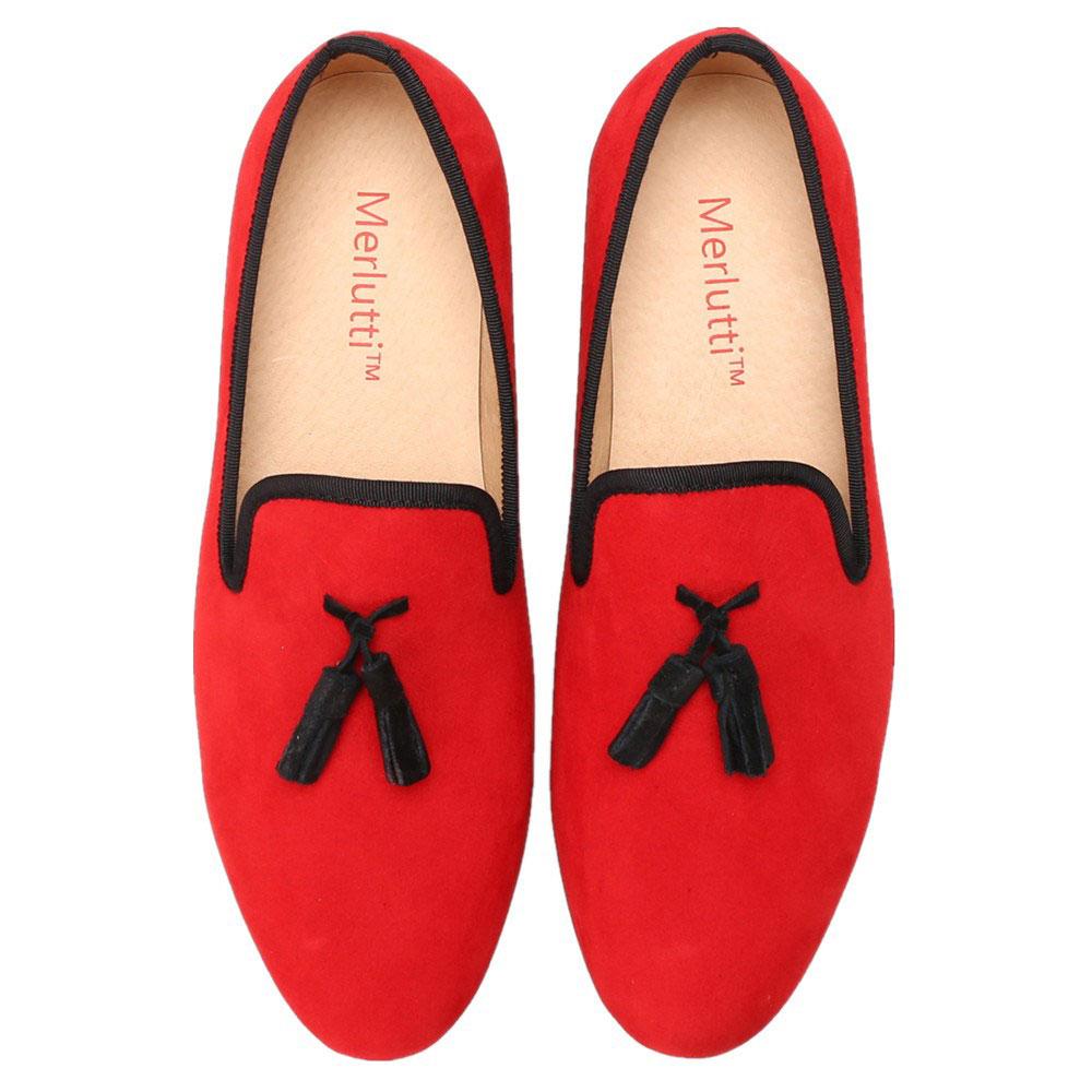 Merlutti Handmade RED Velvet With Black Tassel Slippers Men/'s Flat
