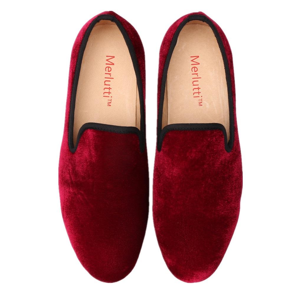 ea5474e4603 Plain Burgundy Velvet Loafers - Merlutti