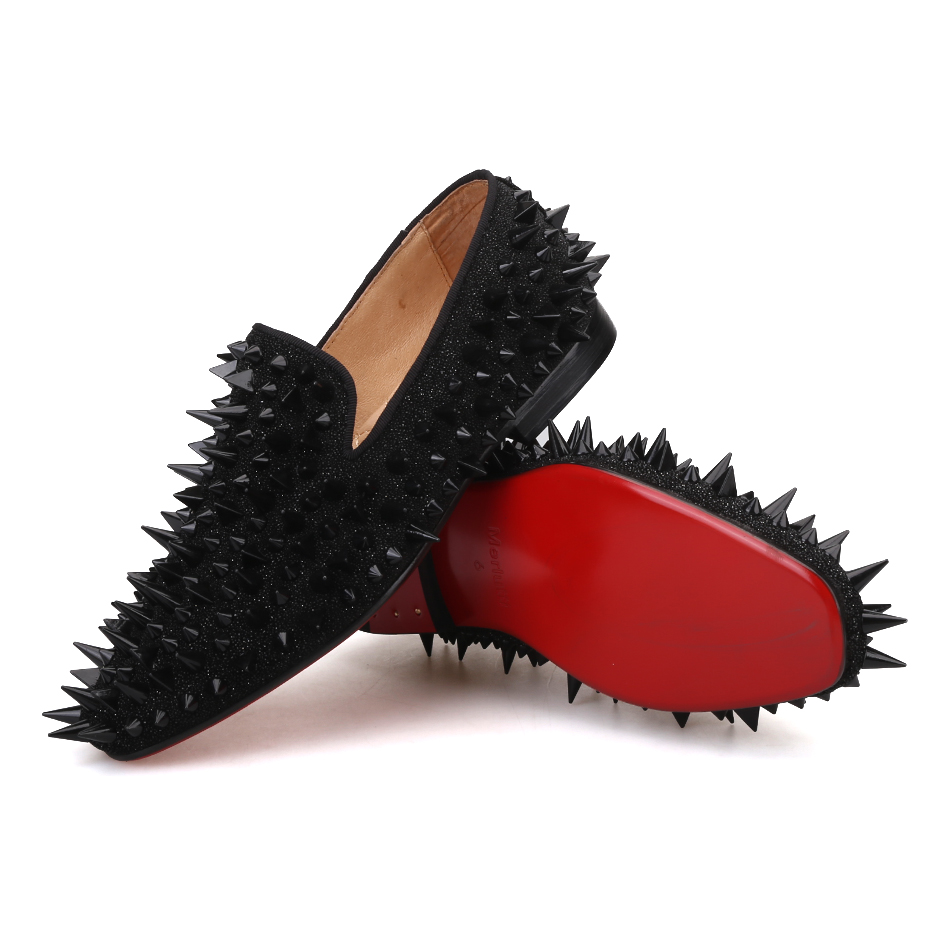 Black Women Rhinestones Loafers