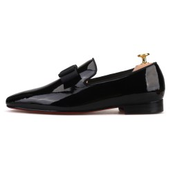 Black Patent Leather Bowtie Flat