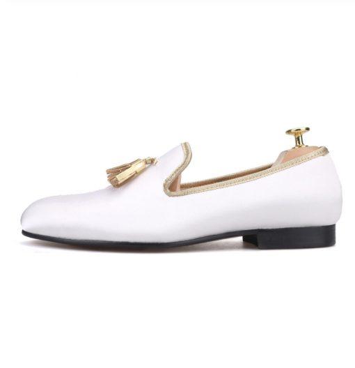 White Loafer Gold Tassel Flat