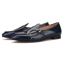 Blue Navy Leather Belgian Loafer