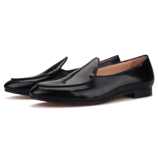 Black Leather Belgian Formal Loafer