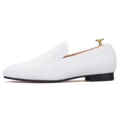 White Loafer Prom Wedding Flat