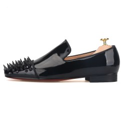 Black Patent Leather Spiked Toe Flat
