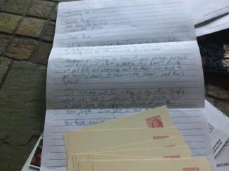 first letter and vintage postcards