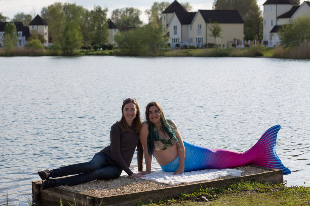 Spot the mermaid! Friends with Mermaid Kerenza Sapphire on the lake | Mermaiding UK | mermaiding.co.uk