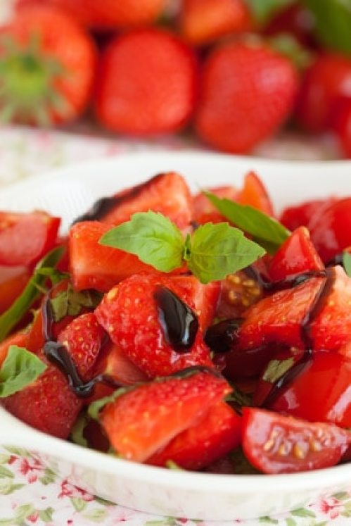 Delicious and healthy; strawberry tomato salad with balsamic glaze
