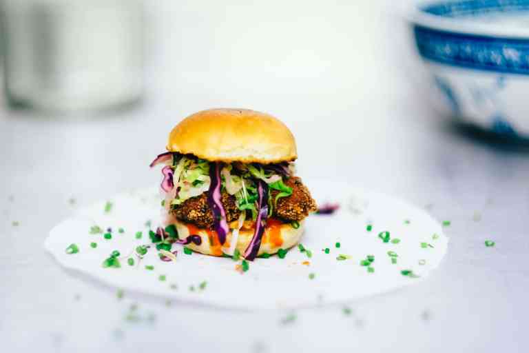 Crab cake burger with pineapple slaw