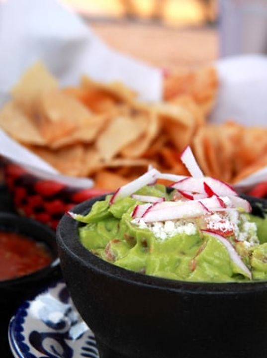 Guacamole with chips and salsa