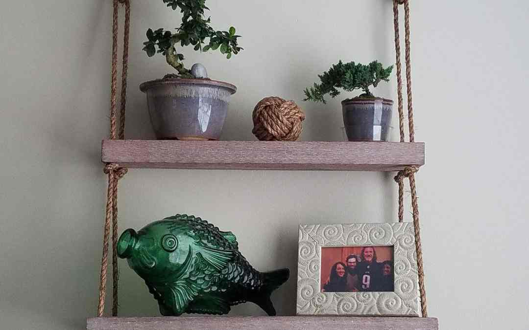 Easy DIY Hanging Rope Shelf