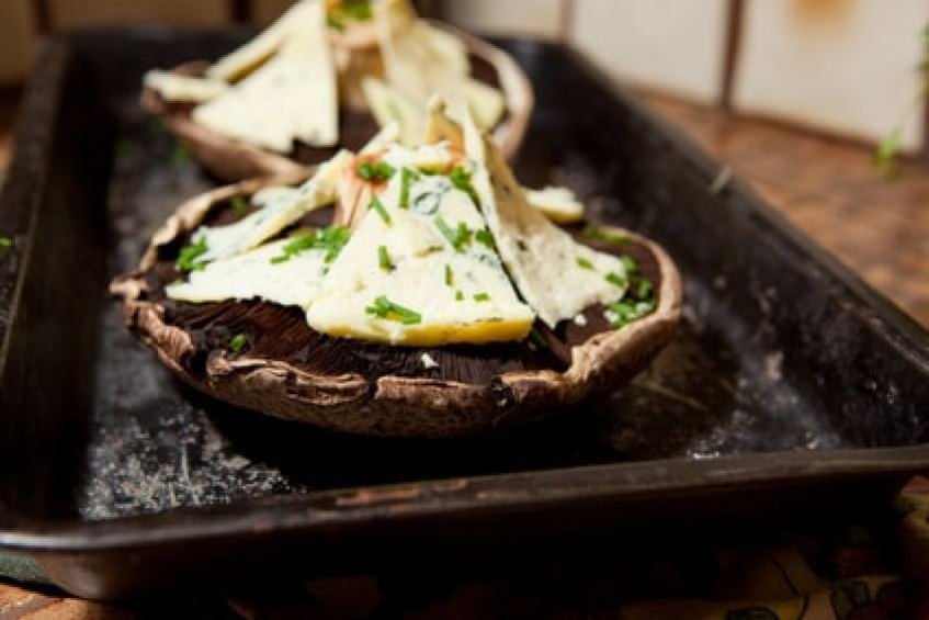 Portobello stuffed with crab meat, blue cheese and herbs