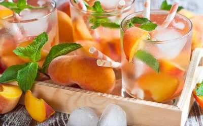 Peach and strawberry white sangria