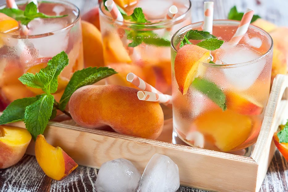 White Sangria with White Peaches, and Strawberries