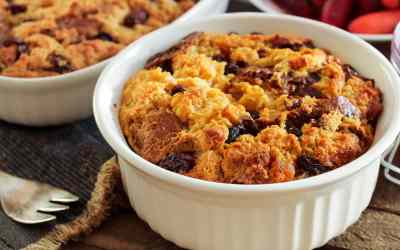 Pumpkin and Cranberry Bread Pudding