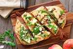 Apple, roasted garlic and truffle pizza