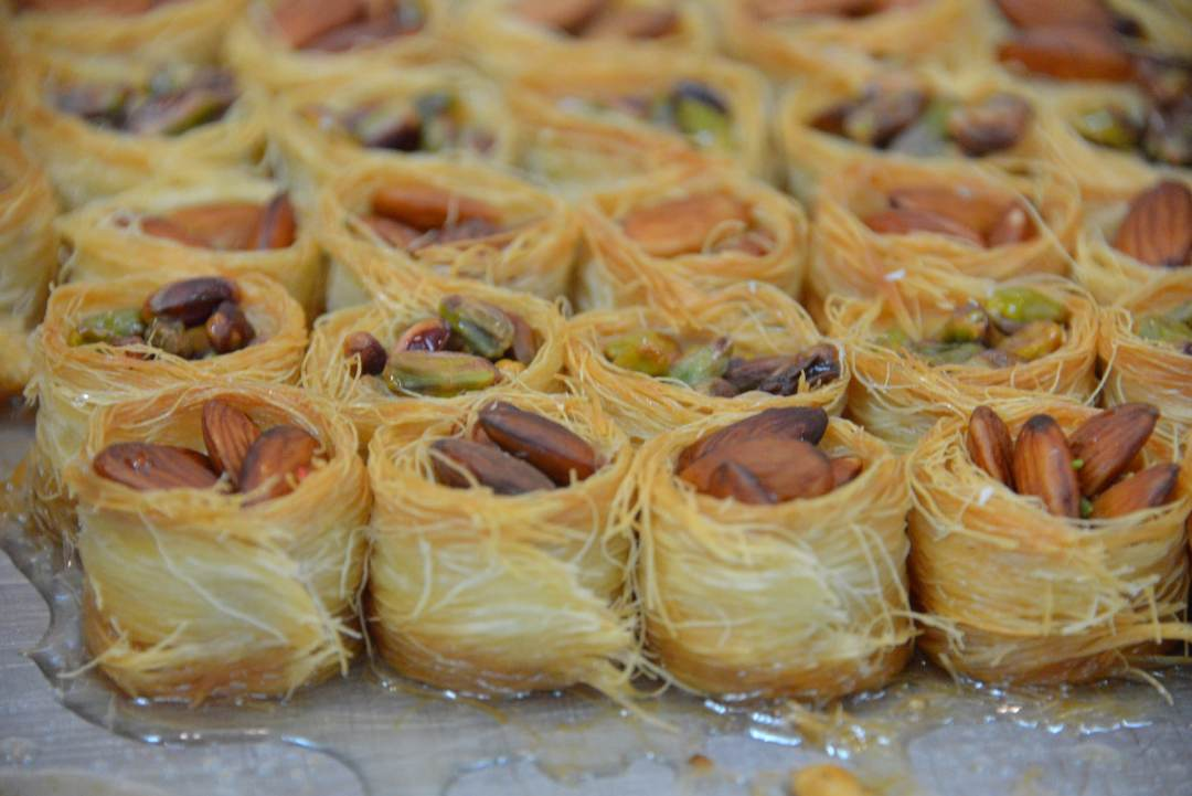 Cambozola, pistachio almond cups drizzled with honey