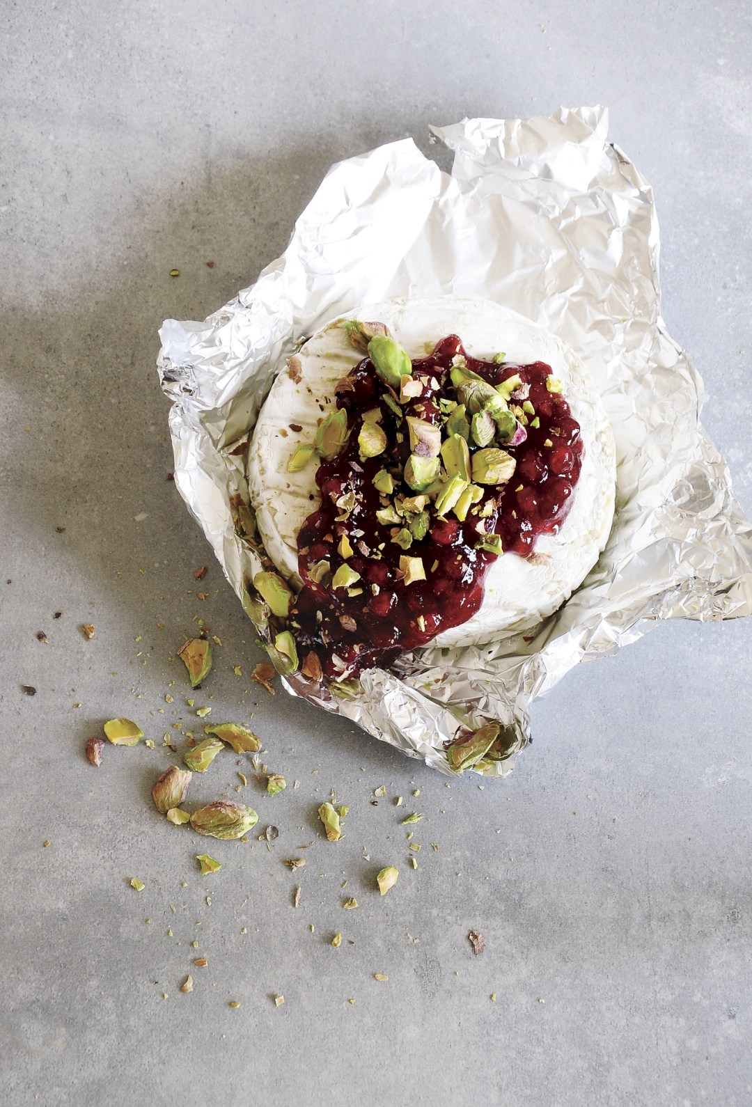 camembert with fig jam and pistachios