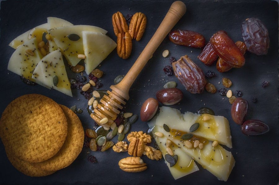 cheese, nuts, fruit and honey
