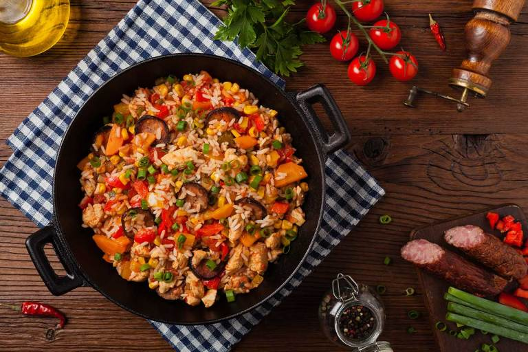 Chicken and shrimp traditional New Orleans jambalaya