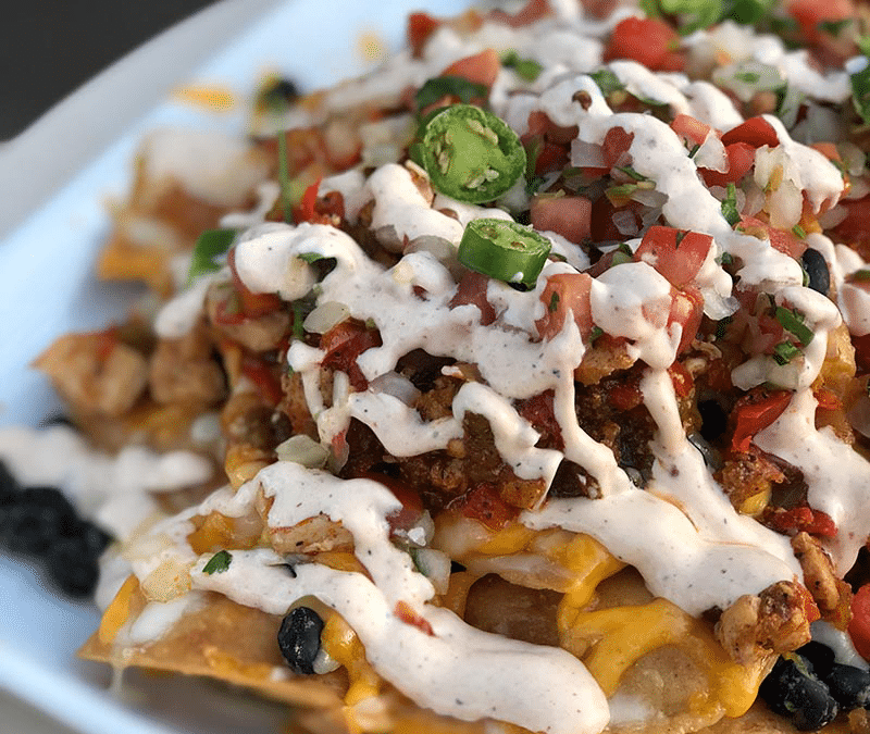 Loaded Ultimate Nachos with Salsa Verde Chicken