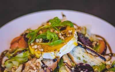 Goat Cheese and Walnut Panzanella Salad