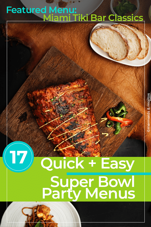 Super Bowl Party = Football.  Food.  Cocktails. Commercials.