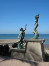 Triton and Nereida mermaid sculpture