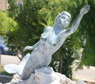 The Mermaid statue on Poros.