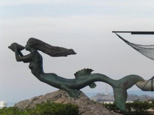 """Mermaid statue """"Sirena Magdalena"""" in Santander Spain."""